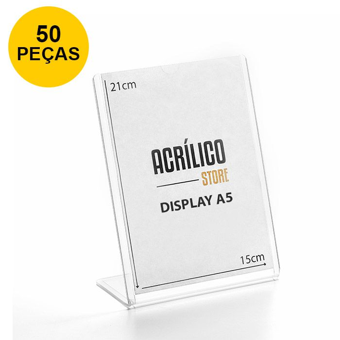 Kit Display transparente tipo L A5 Vertical (15x21cm) - 50 Peças