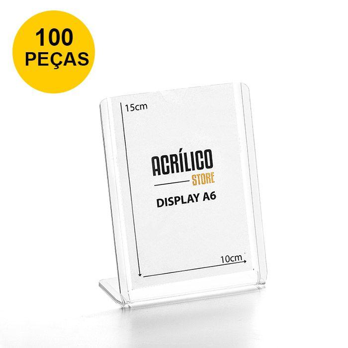 Kit Display transparente tipo L A6 Vertical (10x15cm) - 100 Peças