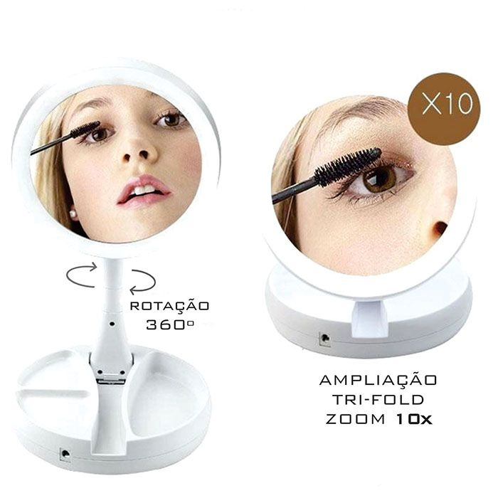 Kit Espelho com Led para Maquiagem e Porta Joias Style
