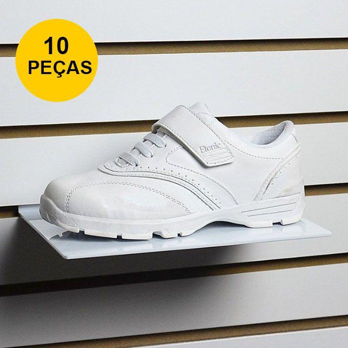 Kit Expositor de Calçado em Acrílico Branco - 10 Peças
