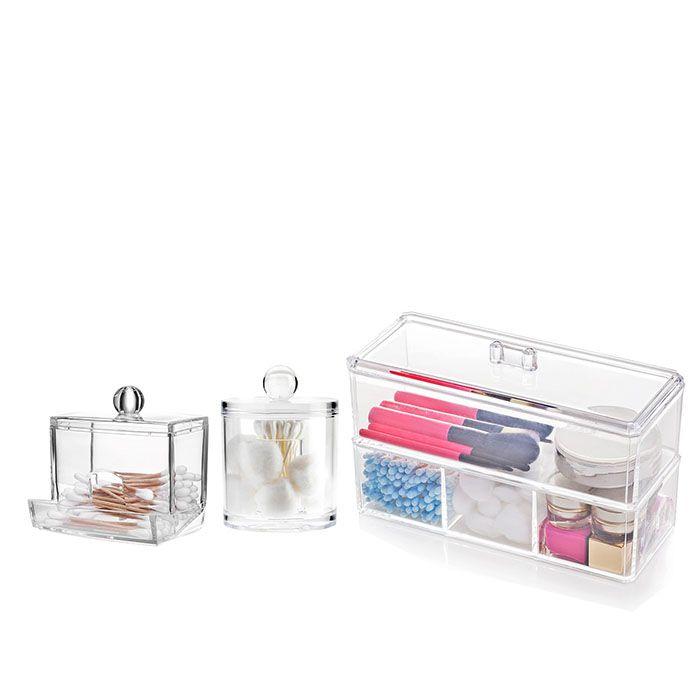 Kit Organizador com Divisórias e Porta Cotonetes e Algodão