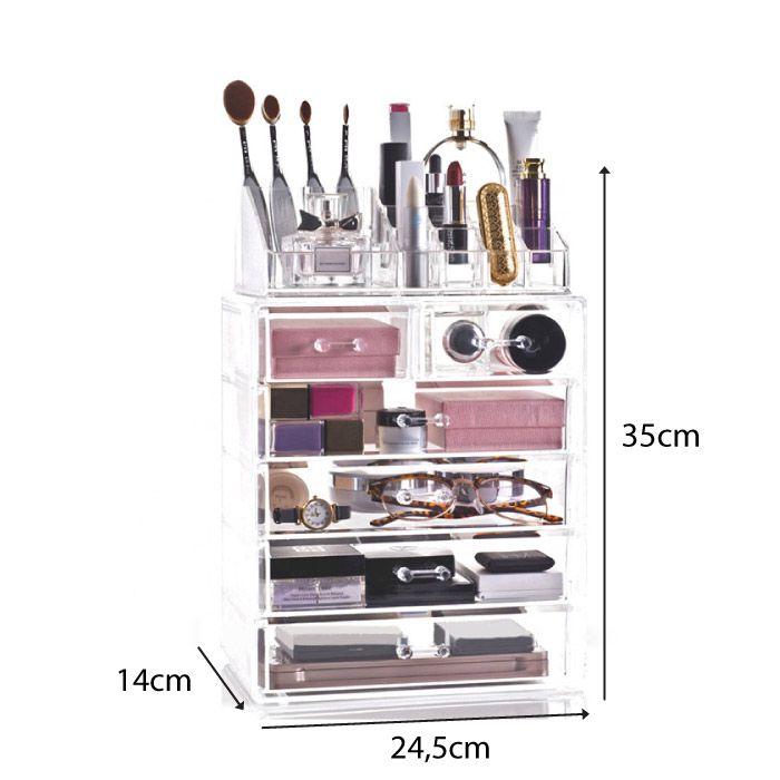 Kit Organizador de Maquiagem em Acrílico e Porta Algodão em Disco
