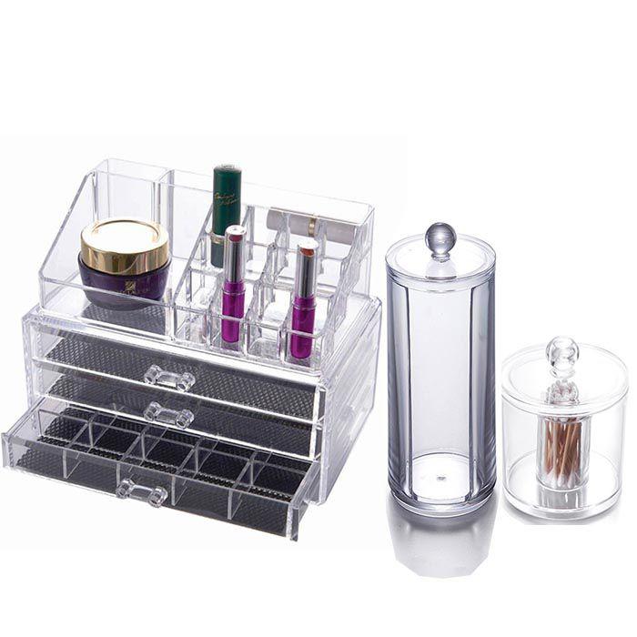 Kit Organizador de Maquiagem, Porta Cotonete e Porta Algodão em Disco