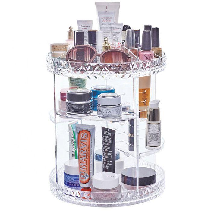 Kit Organizador Giratório Diamond e Espelho Led