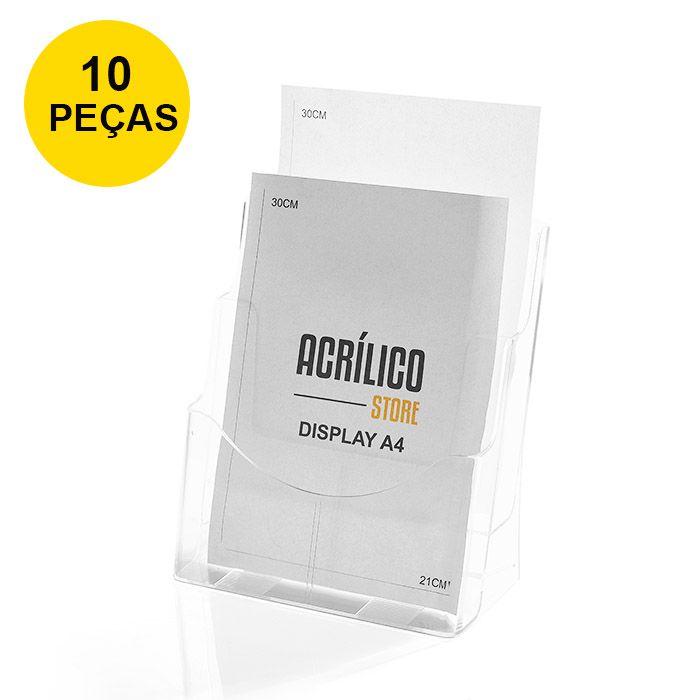 Kit Porta Folheto Duplo com Bolsas A4 Vertical (21x30cm) - 10 Peças