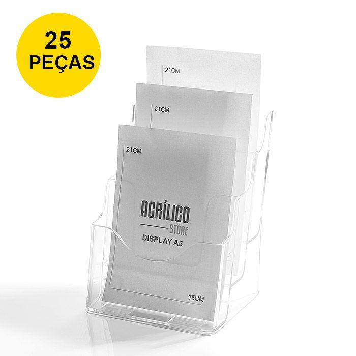 Kit Porta Folheto Triplo com Bolsas A5 Vertical (15x21cm) - 25 Peças