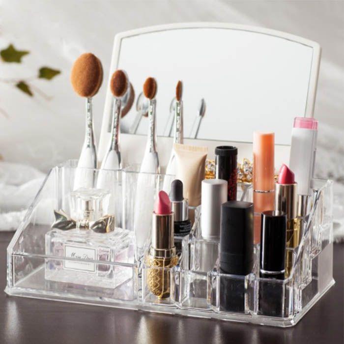 Kit Porta Maquiagem com Espelho e Porta Algodão e Cotonete