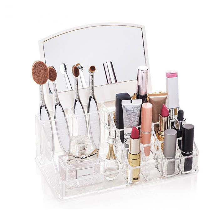Kit Porta Maquiagem com Espelho e Porta Joias Elegance