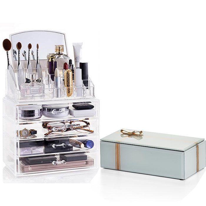 Kit Porta Maquiagem com Espelho e Porta Joias Style