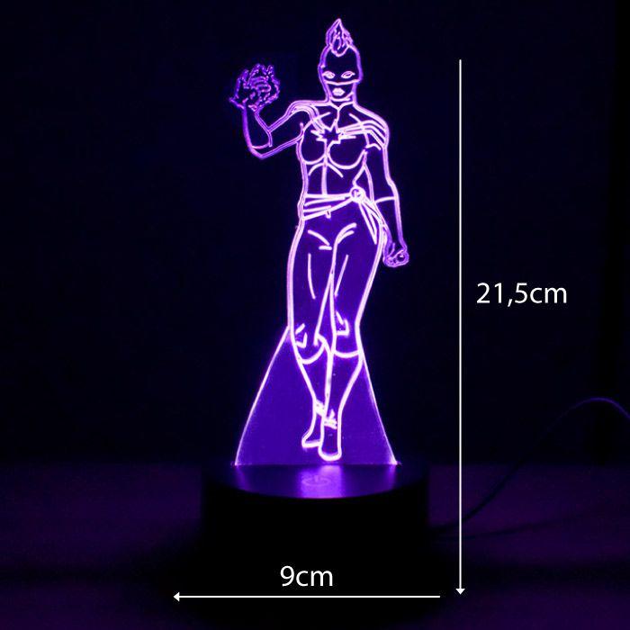Luminária 3D- Capitã Marvel