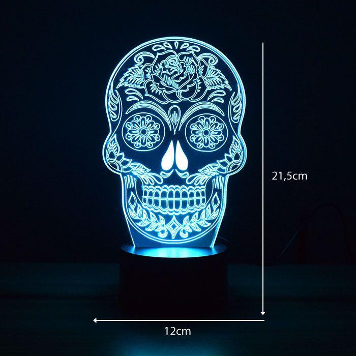 Luminária de Led - Caveira Mexicana