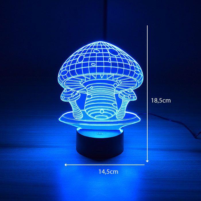 Luminária 3D – Cogumelos