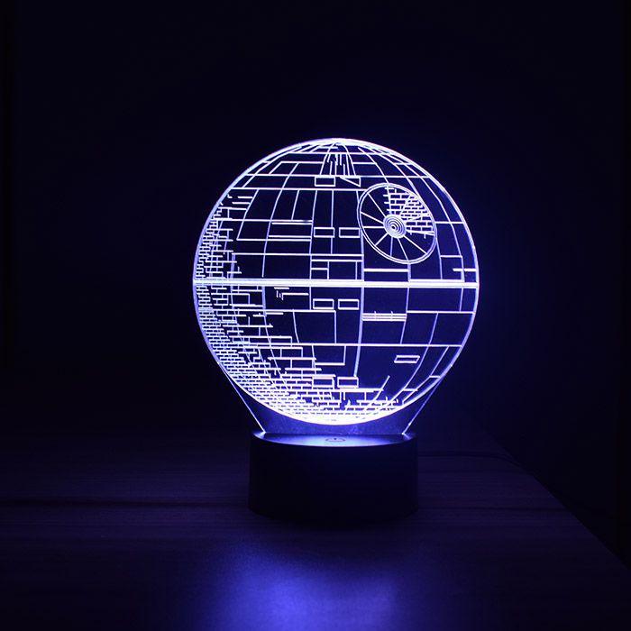 Luminária 3D - Estrela da Morte Star Wars com Controle