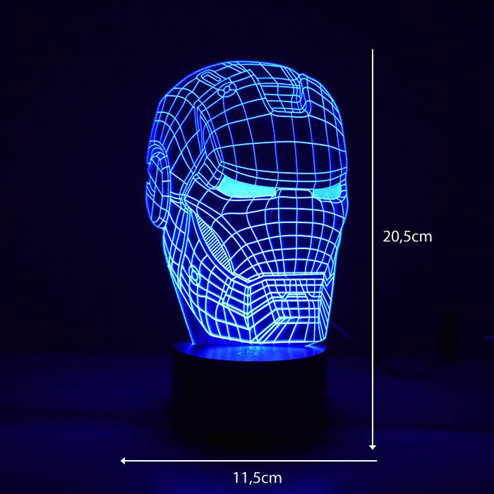 Luminária 3D - Máscara Homem de Ferro