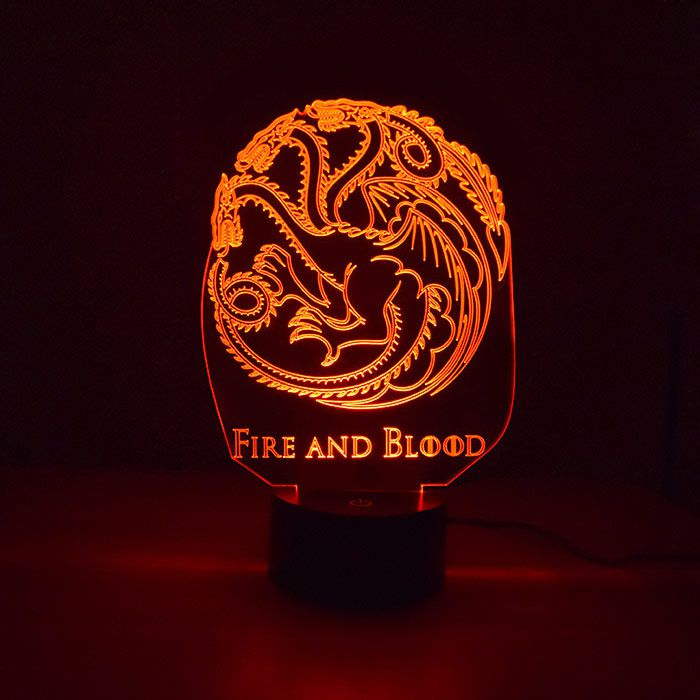 Luminária de Led - Targaryen Game Of Thrones
