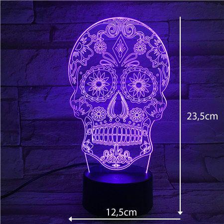 Luminária 3D - Caveira Mexicana