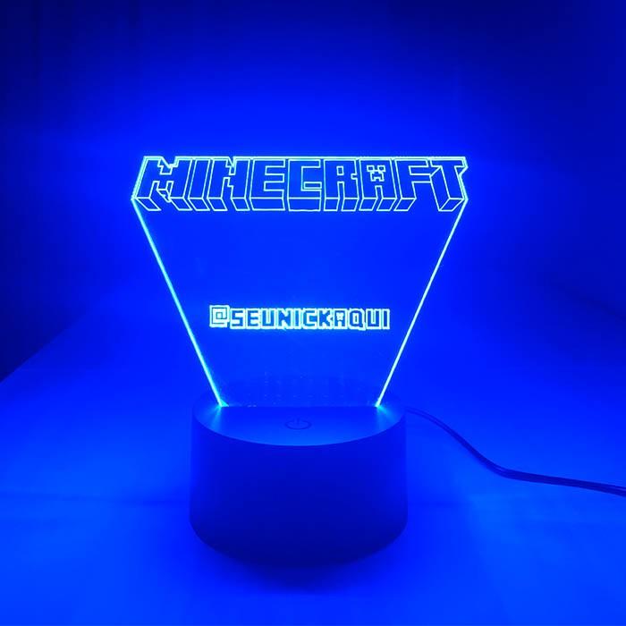Luminária de Led - Minecraft Com Nick Personalizado