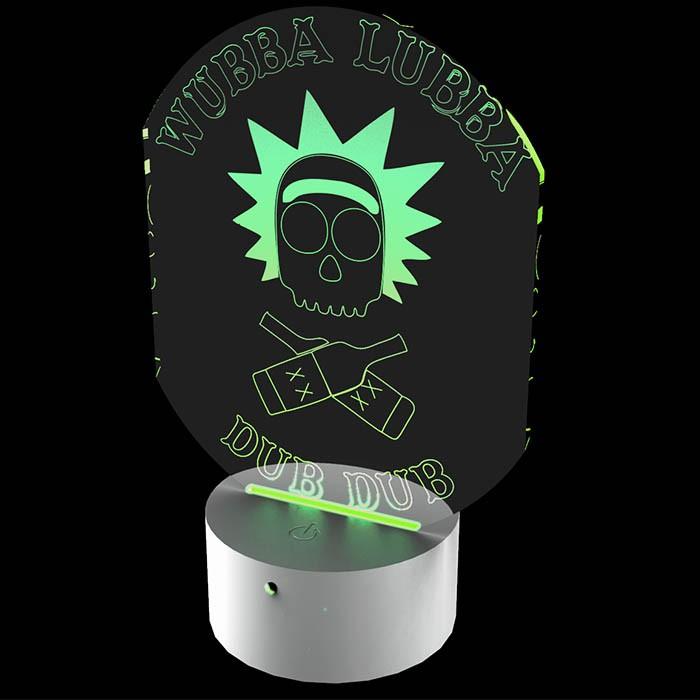 Luminária de Led - Rick e Morty Wubba Lubba Dub Dub