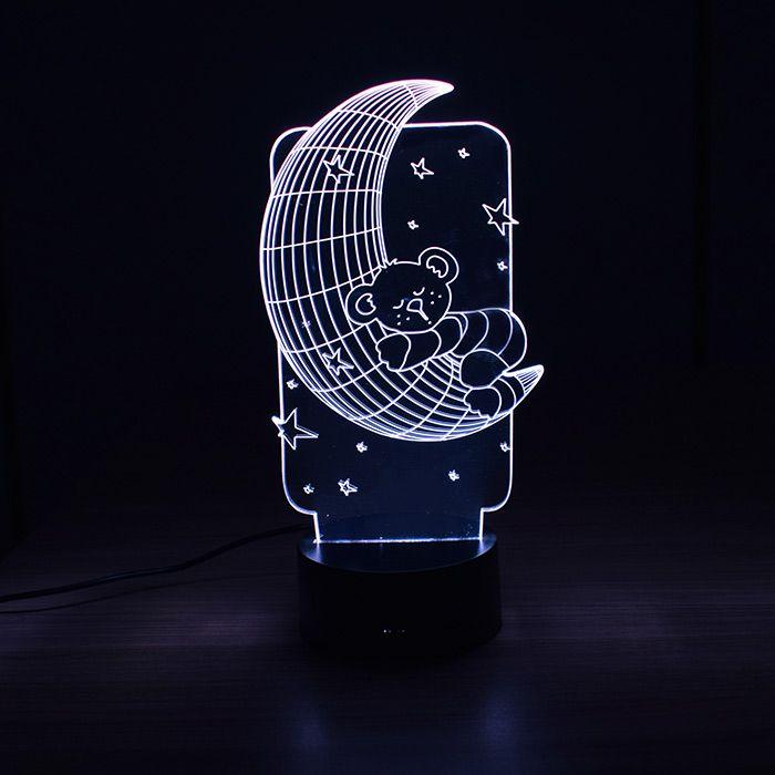Luminária 3D - Lua e Ursinho
