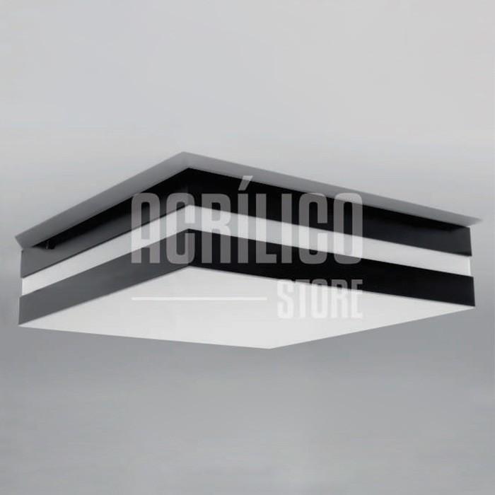 LUMINÁRIA PLAFON DE ACRÍLICO MODELO ABANTE 33x33x8,3CM