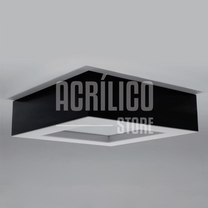 Luminária Plafon de Acrílico Modelo Faon 33X33X9cm