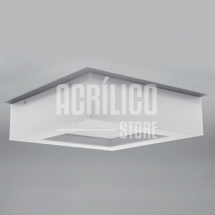 Luminária Plafon em Acrílico Modelo Faon 40X40X9cm