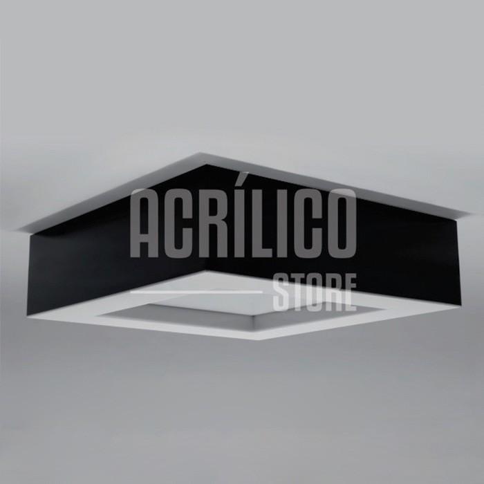 Luminária Plafon de Acrílico Modelo Faon 50X50X9cm