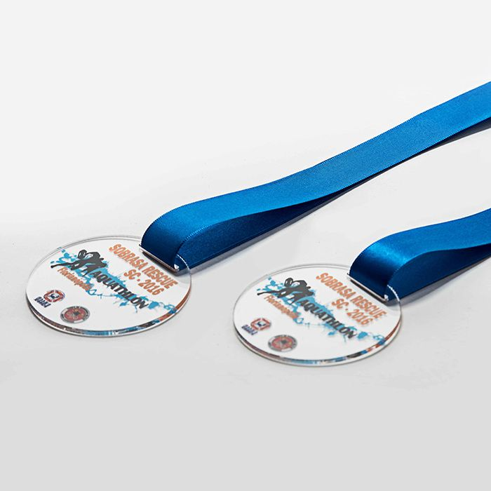 Medalha em Acrílico com Fita de Cetim - Kit 100, 200 e 300 Peças personalizadas