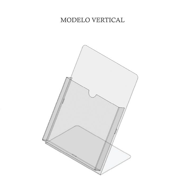 Porta Folheto em Acrílico para Balcão – Bolsa A4 (30x21cm) Kit 10, 20, 50 e 100 Peças