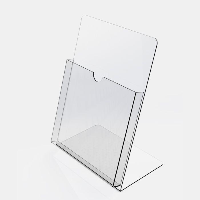 Porta Folheto em Acrílico para Balcão – Bolsa A5 (21x15cm) Kit 10, 20, 50 e 100 Peças