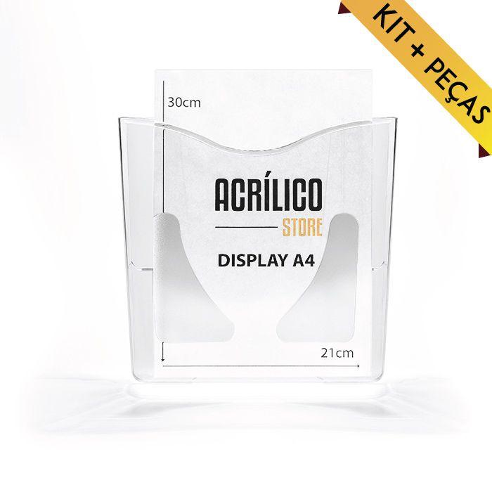 Porta Folheto em Acrílico para Parede - Bolsa A4 (30x21cm) Kit 10 e 25 Peças