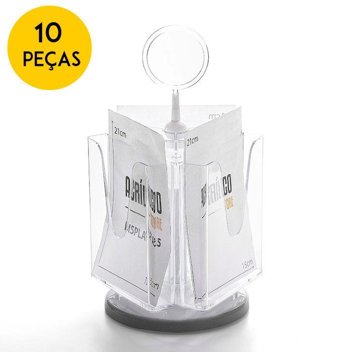 Kit Porta Folheto Giratório com Bolsa A5 Vertical (15x21cm) - 10 Peças