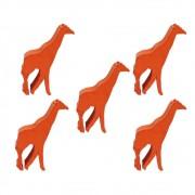 5 Meeples Animais Girafa de madeira 23x35x9mm Laranja Acessório de Jogo Ludens Spirit