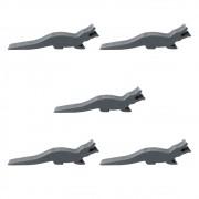 5 Meeples Animais Jacaré de madeira 48x12x9mm Cinza Acessório de Jogo Ludens Spirit