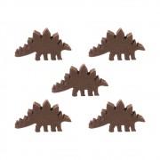 5 Meeples Dinossauros Estegossauro de madeira 33x18x9mm Marrom Acessório de Jogo Ludens Spirit