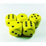 Conjunto 5 dados de madeira D6 amarelos 1,5cm