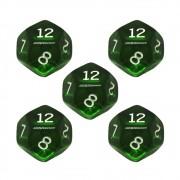 Conjunto de 5 Dados D12 para RPG Verde Translucido Ludens Spirit