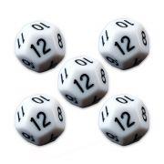 Conjunto de 5 Dados D20 para RPG Branco