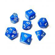 Conjunto de 7 Dados para RPG Azul (D4, D6, D8, D10, D10%, D12, D20)