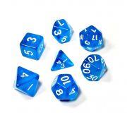 Conjunto de 7 Dados para RPG Translucido Azul (D4, D6, D8, D10, D10%, D12, D20)