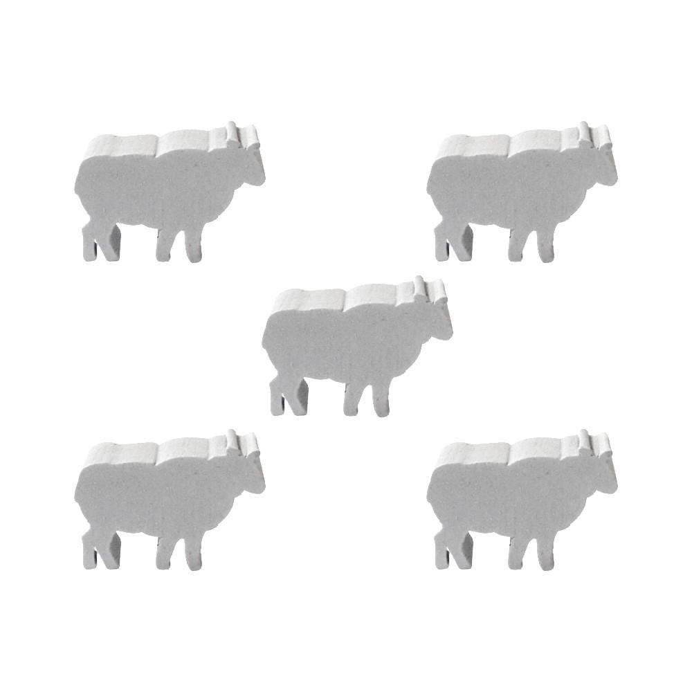 5 Meeples Animais Ovelha de madeira 20x18x9mm Branco Acessório de Jogo Ludens Spirit  - Place Games
