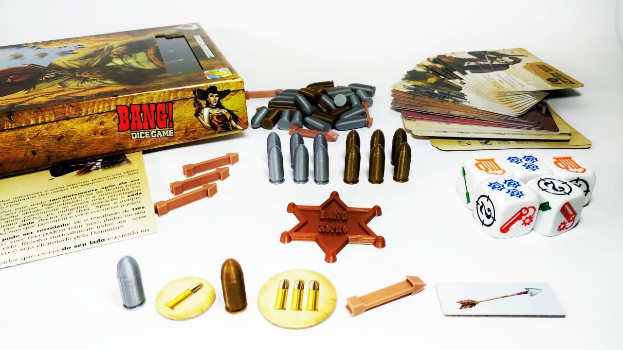 Bang! Dice Game + Kit peças 3D Jogo de Dados Galapagos BGD001  - Place Games