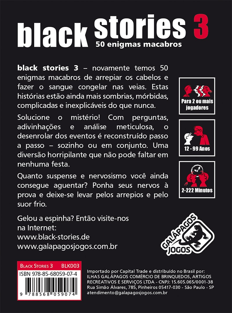 Black Stories 3  Jogo de Cartas Galapagos BLK003  - Place Games