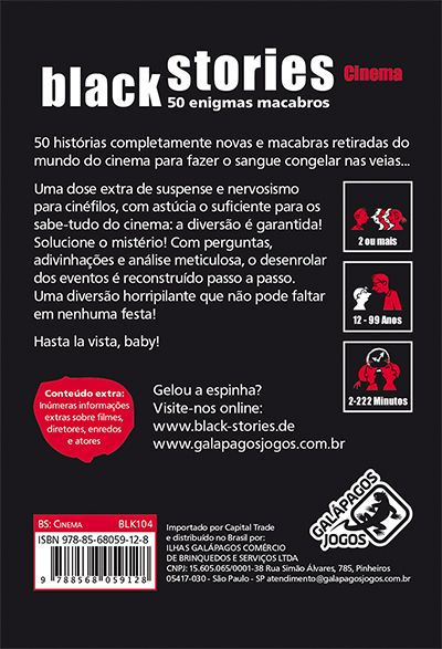 Black Stories Cinema  Jogo de Cartas Galapagos BLK104  - Place Games