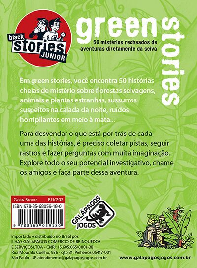 Black Stories Junior Green Stories  Jogo de Cartas Galapagos BLK202  - Place Games
