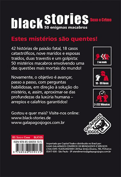 Black Stories Sexo e Crime  Jogo de Cartas Galapagos BLK105  - Place Games