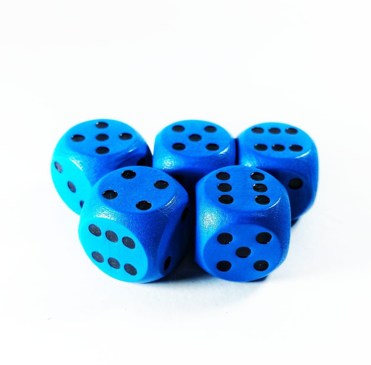 Conjunto 5 dados de madeira D6 azuis 1,5cm  - Place Games