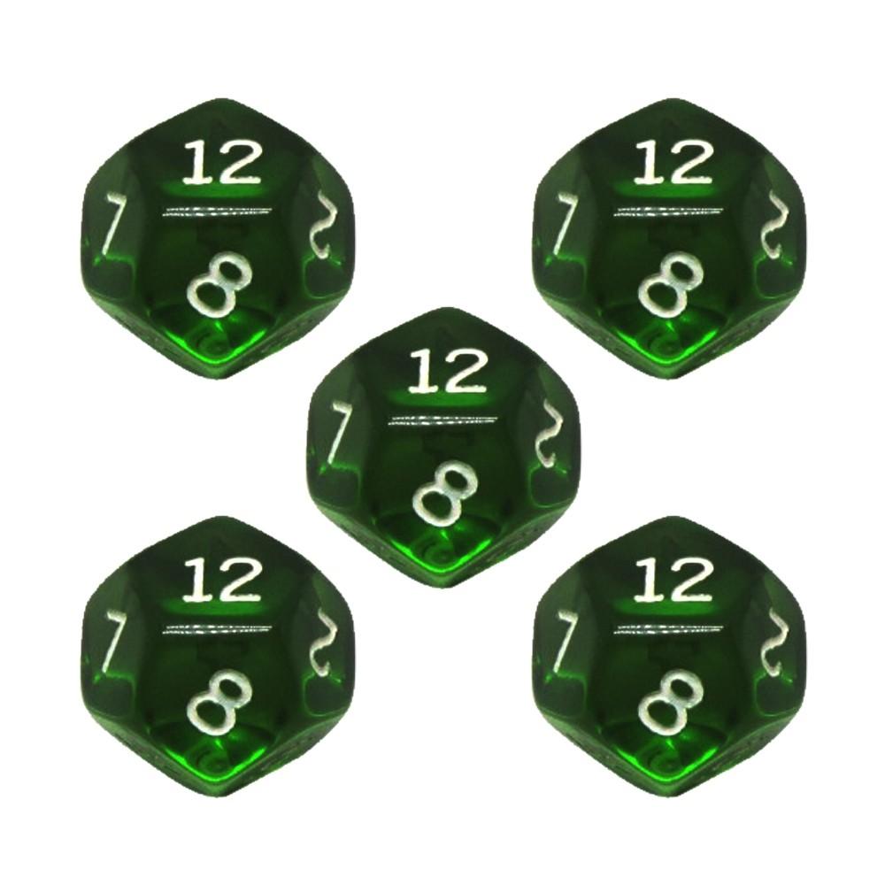 Conjunto de 5 Dados D12 para RPG Verde Translucido Ludens Spirit  - Place Games