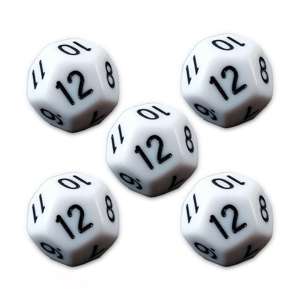 Conjunto de 5 Dados D20 para RPG Branco  - Place Games