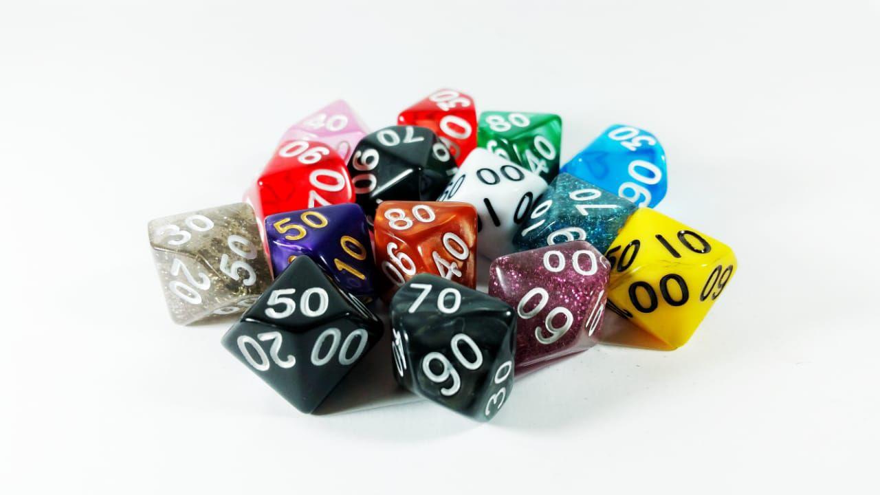 Conjunto 5 dados RPG D90 lados com bag Magic DeD  - Place Games